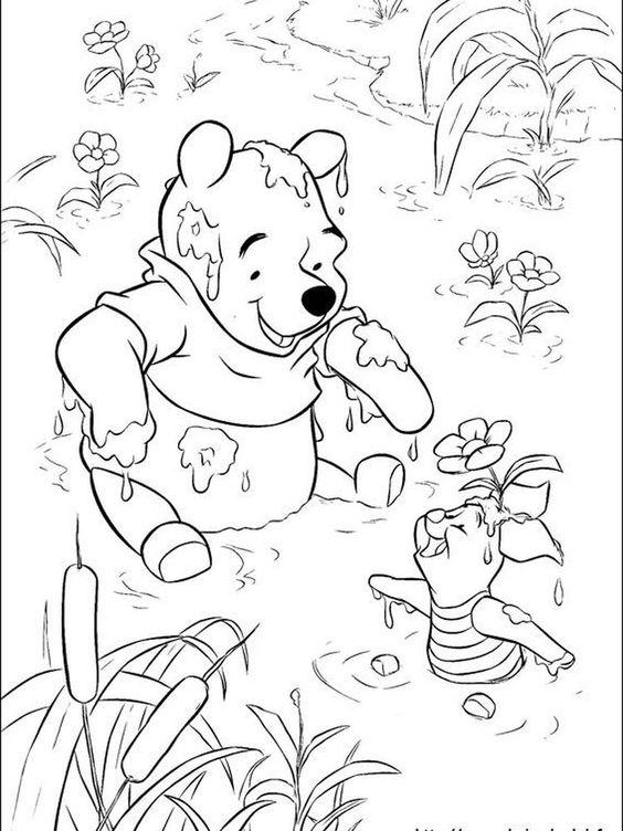 Tranh cho bé tô màu gấu Pooh 04