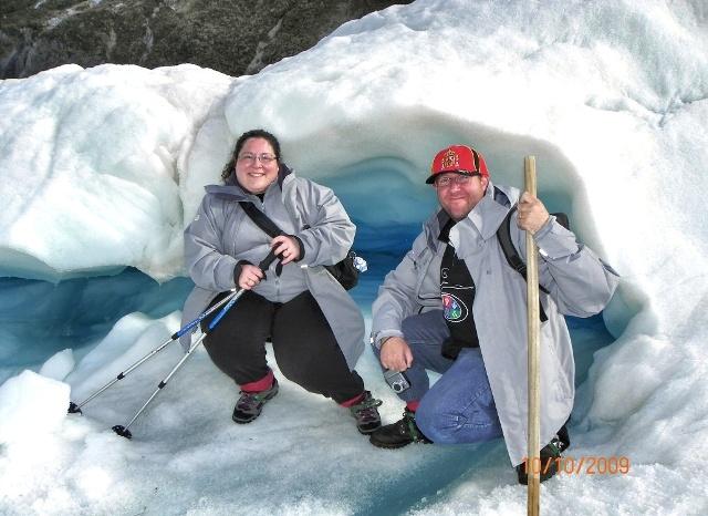 Paco y Vero en el Glaciar Fox