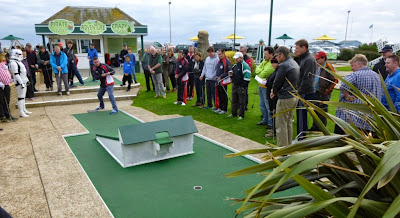 Richard Gottfried playing hole 2 in the 2014 World Crazy Golf Championships in Hastings