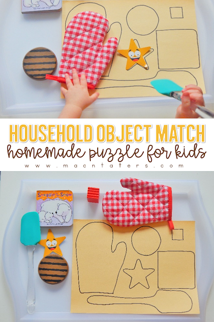 "This household object picture match DIY puzzle for toddlers is a great hand eye coordination activity. This simple independent play activity can easily be set up for your little ones and encourages them to match objects they see everyday to its ""shadow."""