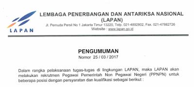 Lowongan Kerja Lembaga Penerbangan dan Antariksa Nasional (LAPAN)