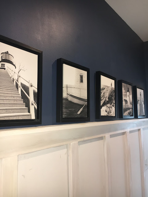 Black & White photos in entry hall