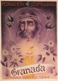 Cartel oficial en 1944 de la Real Federación de Hermandades y Cofradías de Semana Santa de Granada