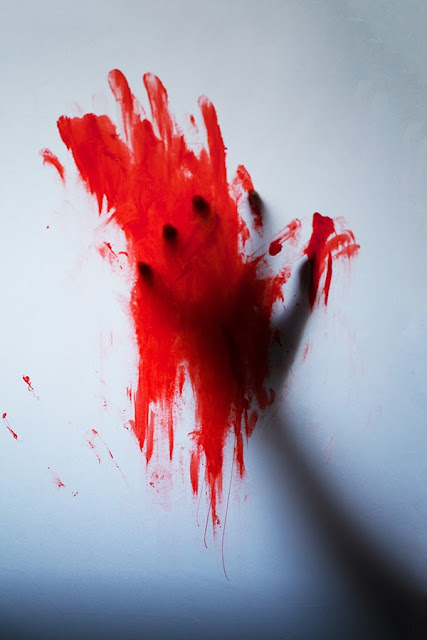 Horror photograph of a silhouette of a bloody hand - Marie Carr Photography