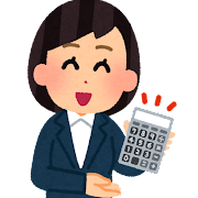 電卓を見せるセールスマンのイラスト(女性)