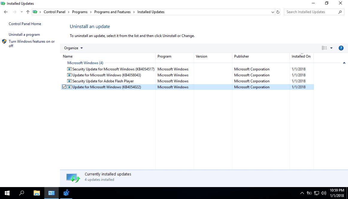 Hướng dẫn gỡ các bản cập nhật đã cài đặt trong Windows 10 nhưng không thể không gỡ bỏ