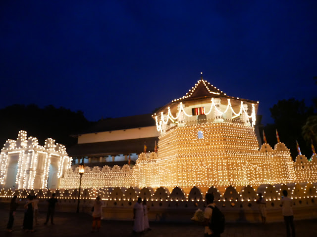 Temple of the tooth - lit up in the dark - Kandy, Sri Lanka