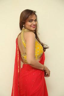 Actress Ashwini Po Shoot Stills In Red Saree With Golden Choli (9).jpg