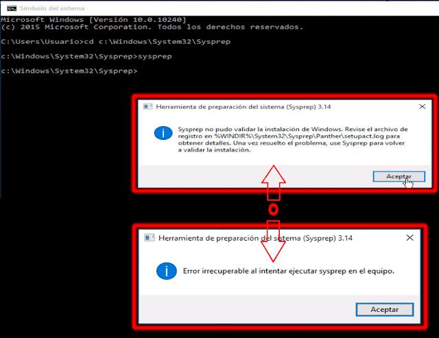 Sysprep no pudo validar la instalación de Windows.
