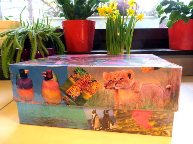 recycled treasure box kierrätetty aarrelaatikko birds lions