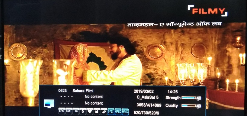 Sahara Filmy Channel Free to air from Asiasat 7 Satellite