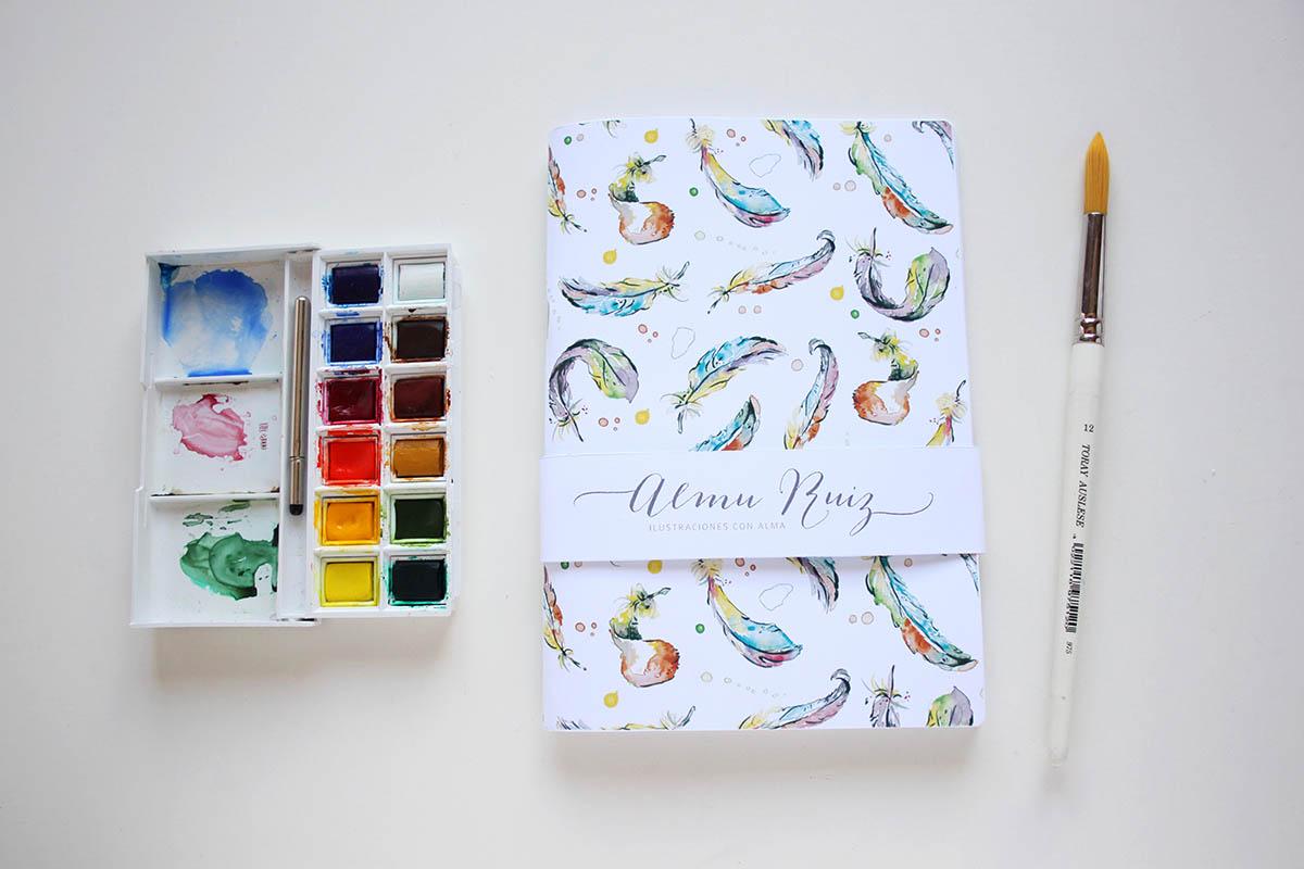 Cuadernos con acuarelas de Almu Ruiz