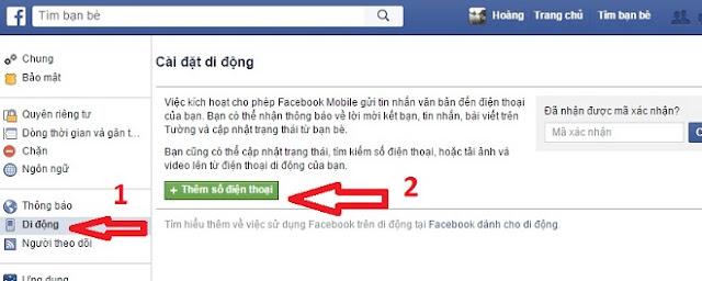 xác nhận Facebook