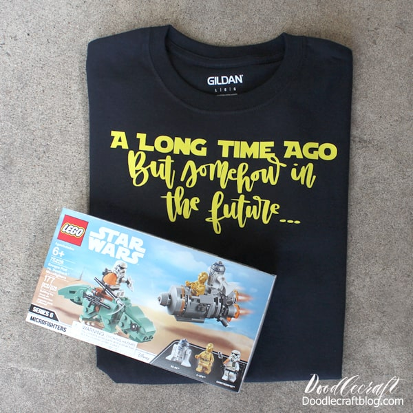 a long long time ago shirt with star wars escape pod lego set