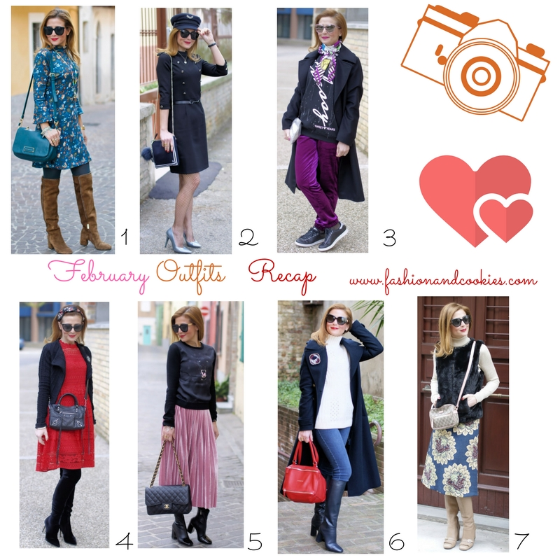 February 2017 fashion outfits recap, outfit ideas from Fashion and Cookies fashion blog, fashion blogger style