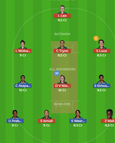 SL-W VS SA-W dream11