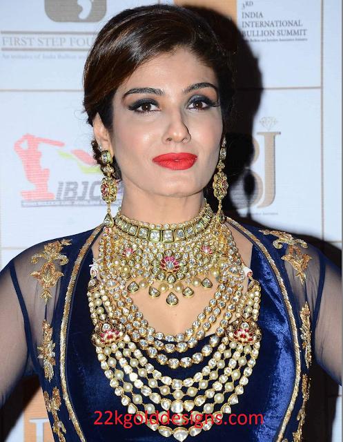 Raveena Tandon in Bridal Polki diamond Jewelry