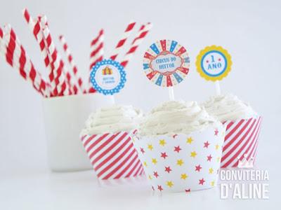 festa circo wrapper topper cupcake personalizado
