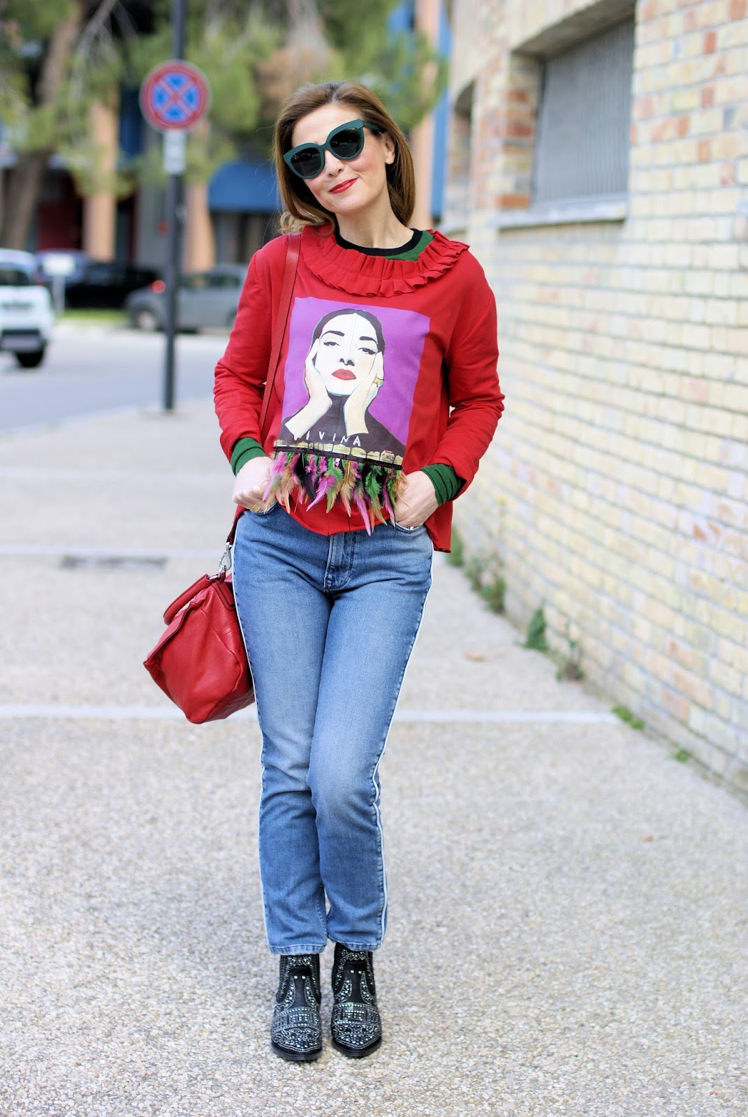 Maria Callas feather sweater on Fashion and Cookies fashion blog
