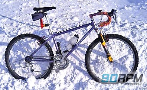 Esempio di allestimento per una MTB invernale: piega corsa, copertoni chiodati, forcella e freni modificati