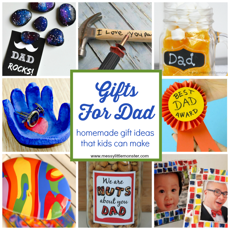 Gifts For Dad From Kids - Homemade gift ideas that kids can make for dad. Easy diy gift ideas for Father's Day, Birthdays or Christmas. Gift ideas toddlers and preschoolers can make.