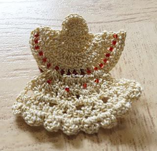 free crochet angel motif pattern, free crochet hair clip pattern