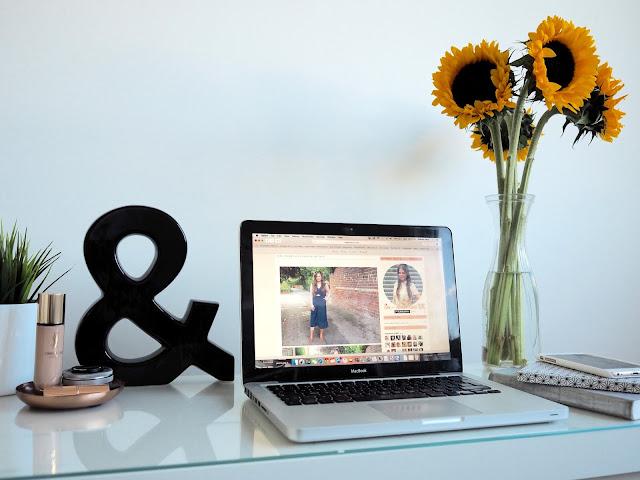 blogger desk workspace