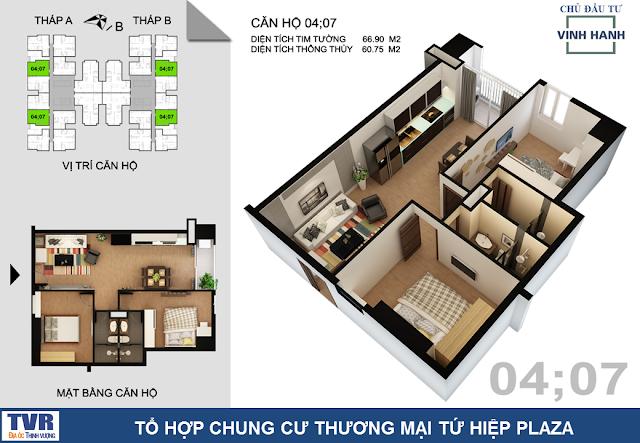 Thiết kế căn hộ 04 và 07, diện tích 60m2 thông thủy (02 phòng ngủ)