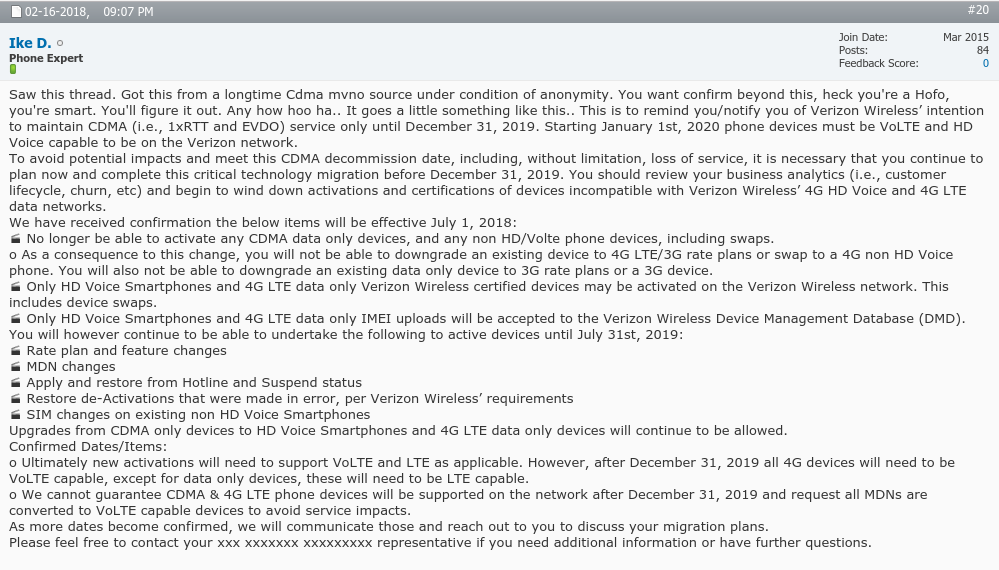 Rumor: Verizon to End 3G and non-VoLTE Phone Activations July 1