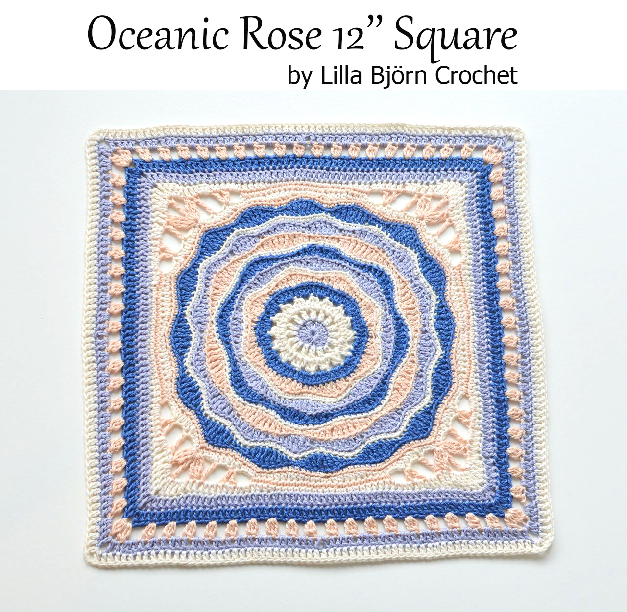 12 inches afghan square - crochet pattern by Lilla Bjorn Crochet