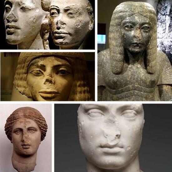 Estatuas antigas sem nariz
