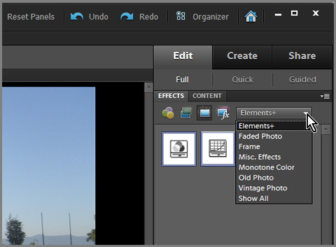 Show elements+ icon in Effects panel in Photoshop Elements