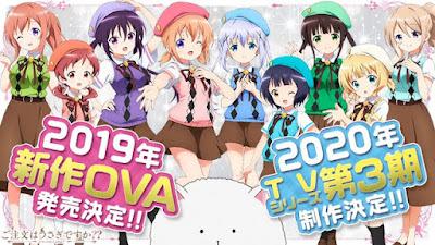 """Tercera temporada y una nueva OVA para """"Gochuumon wa Usagi Desu ka?""""."""