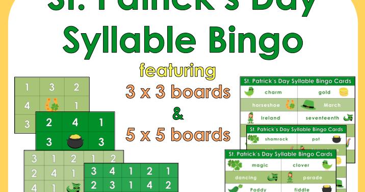 Premise Indicator Words: St. Patrick's Day Syllable Bingo