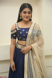 Niveda Thomas in Lovely Blue Cold Shoulder Ghagra Choli Transparent Chunni ~  Exclusive Celebrities Galleries 082