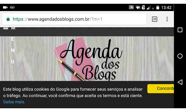Aviso de cookies no blog Agenda dos Blogs