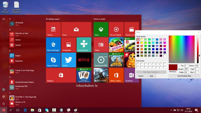 Windows 10'da Renkleri Özelleştirelim