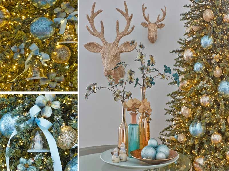 árbol navidad turquesa oro
