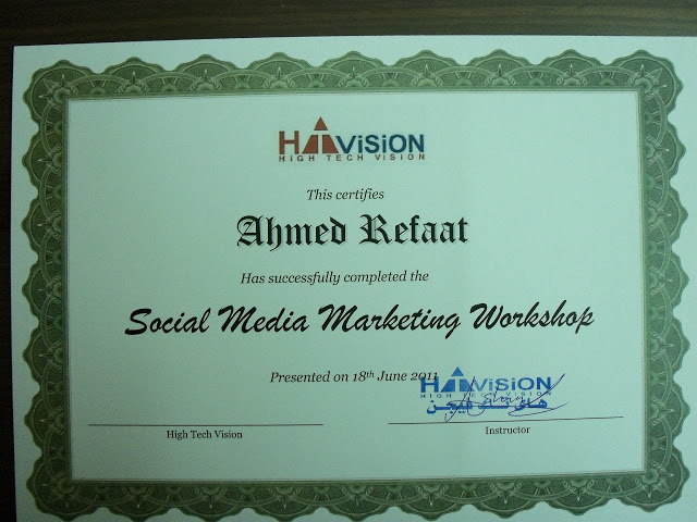 Social Media Marketing Workshop Certificate of Attendance