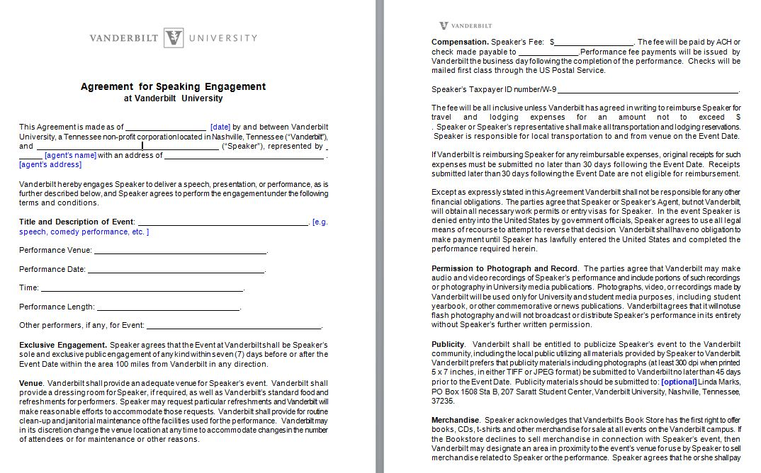 Speaker Engagement Contract - free sample example form - word and