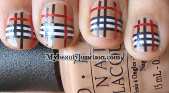 Burberry Nail Art Striping Tape Manicure Tutorial For Beginners
