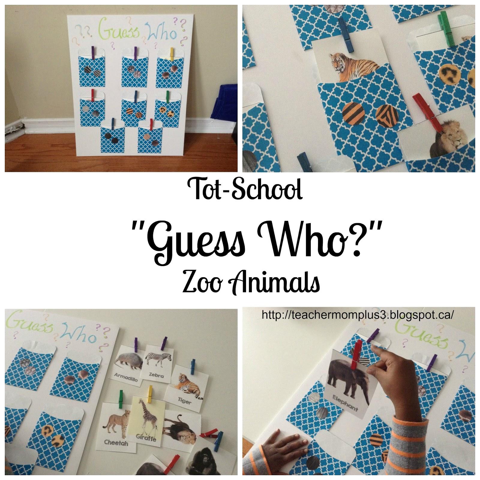 Teachermomplus3 Tot School Guess Who Zoo Animals
