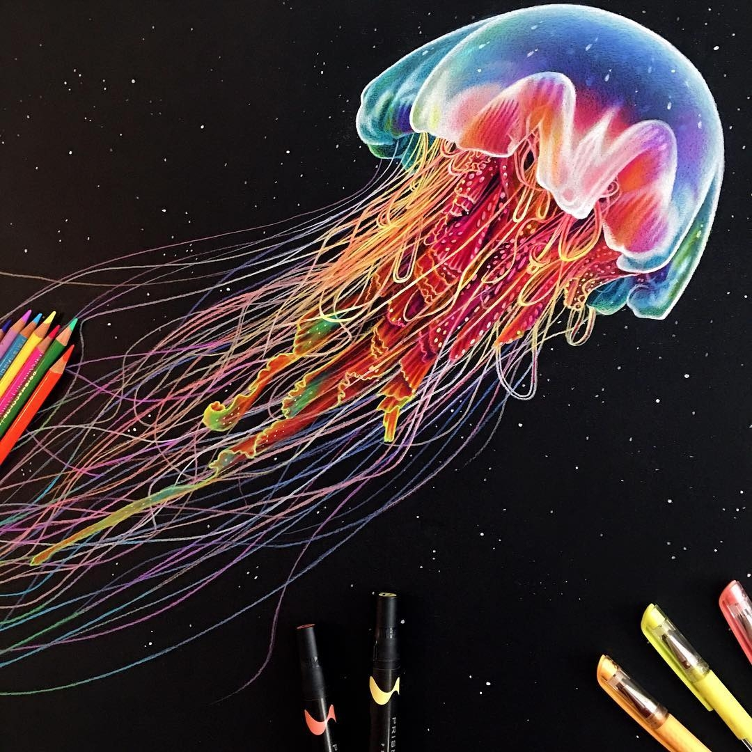 07-Glowing-Jellyfish-Morgan-Davidson-Eclectic-Collection-of-Realistic-Drawings-www-designstack-co