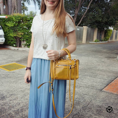 Awayfromblue instagram | Jeanswest Kaylin star foil grey tee chambray noisy may maxi skirt mustard micro Regan bag
