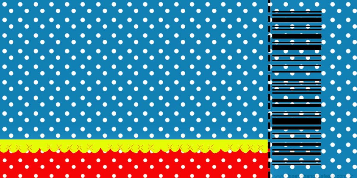 Tarjeta con forma de Ticket de  Rojo, Amarillo y Azul para Imprimir Gratis. .