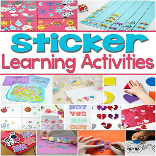 Sticker Learning Activities | So many creative ways to learn with stickers-- Love the DIY Gameboard!