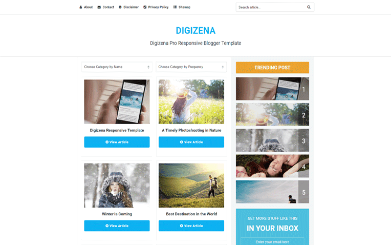 Digizena  Free Blogger Template