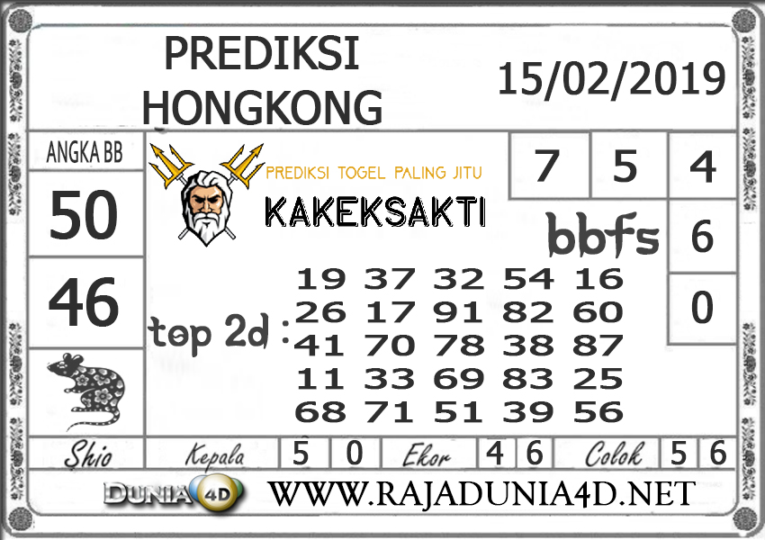 Prediksi Togel HONGKONG DUNIA4D 15 FEBRUARI 2019