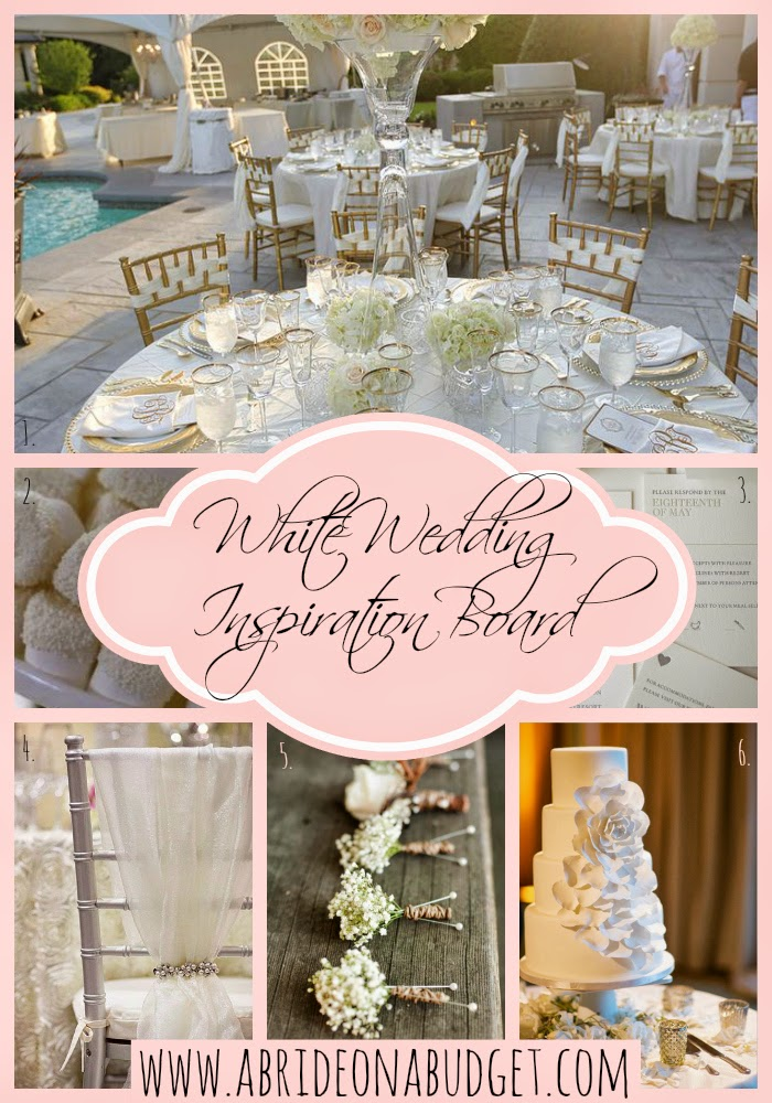 Plan your white wedding with this White Wedding Inspiration Board from www.abrideonabudget.com.