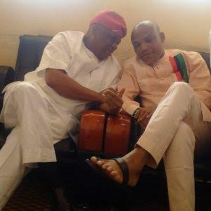 Ex-Abia governor, Orji Kalu visits Nnamdi Kanu in Kuje Prison [PHOTO]